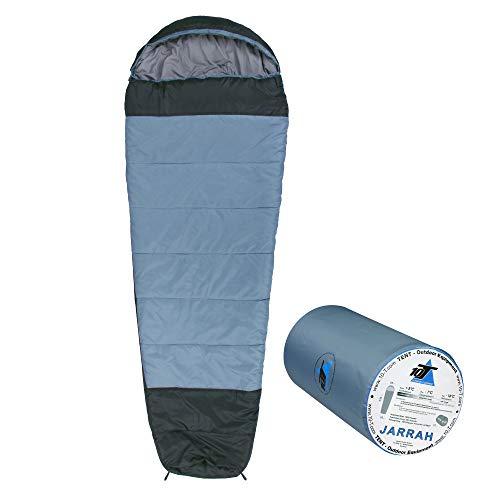 10T slaapzak Jarrah -16° warm zacht 1800g licht XXL mummieslaapzak 230x85 blauw/grijs 300g/m2