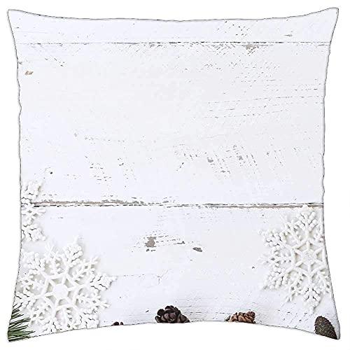 N\A Kissenbezug White Wood Desk Winter Weihnachten Flatlay Pine Cone 1