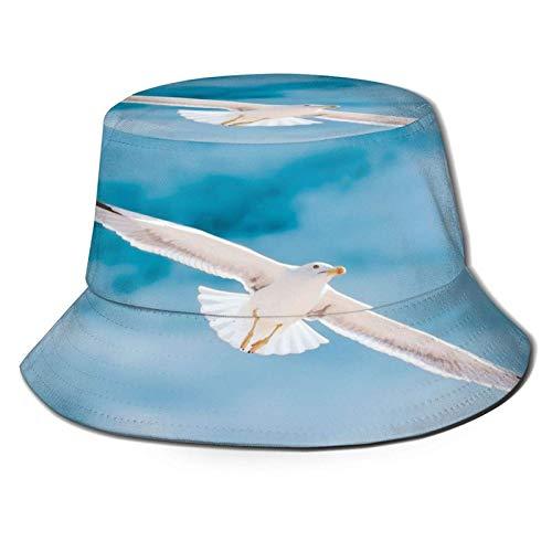 Gaviota Blanca, Cielo Azul, pájaro, Sombrero de Cubo, Gorra de Verano Unisex al Aire Libre, Sombreros de Sol Plegables para Senderismo, Deportes de Playa