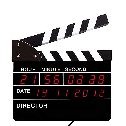 Monsterzeug Regieklappe Wecker, Directors Clock mit LED Display, Digitale Uhr in Filmklappen Optik mit Weckfunktion und Datumsanzeige