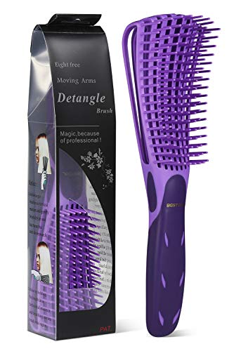 BESTOOL Cepillo desenredante para cabello natural, desenredante para cabello 3/4abc rizado, enrollado, pelo rizado, desenredar mojado/seco fácilmente sin dolor (morado)