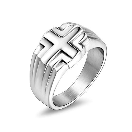 YILEEGOO Los hombres tallaron la decoración del dedo de la cruz, accesorio redondo de la mano del acero de titanio para la fiesta, plata, S