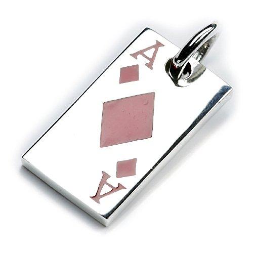 Karo Ass Schmuck Anhänger Silber Kartenspieler Geschenk Spielkarte 925er Kettenanhänger Spiler Schmuck