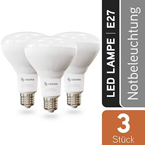 ABSINA LED Glühbirne mit Stromausfallautomatik - 3× E27 Notleuchte 7W, 650 Lumen, warmweiß 2700K - Notlicht Akku Lampe 4 Stunden Notbeleuchtung bei Stromausfall - LED Notfalllampe Birne warmweiss