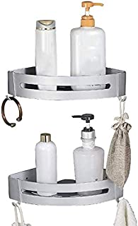 Mr. Cinsen 浴室角架浴室淋浴间球童角存储架壁挂式淋浴篮,用于厨房厨房没有钻孔防锈的空间铝抛光(三角形,2包)储物架