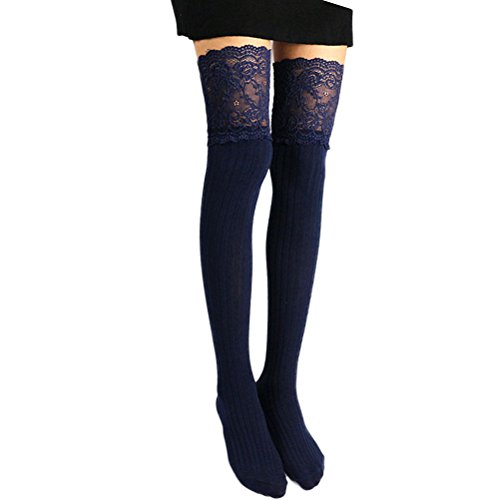 Nanxson Damen Mädchen Socken Spitze Design Baumwolle Overknee Strümpfe Stocking WZW0010 (L, dunkel blau