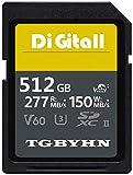 TGBYHN Digital Series 512GB SDXC UHS-II Memory Card, V60, CL10, U3, Max R150MB/S, W277MB/S (512GB)