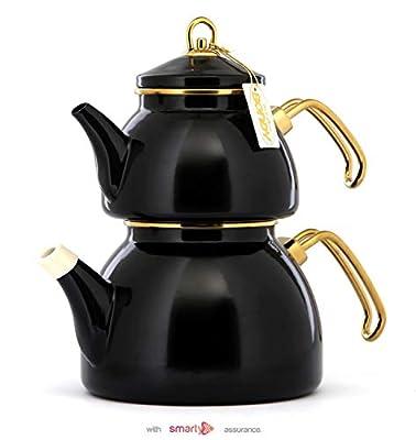 Vintage Enamel Turkish Teapot Samovar - Nostalgic Retro Samovar Kettle Special Design Midi Size Caydanlik 2 Lt (Black)