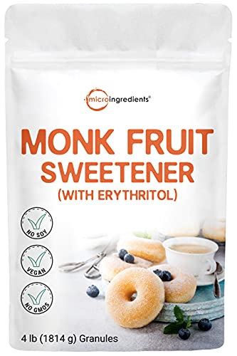 Organic Monk Fruit Sweetener with Organic Erythritol Granules, 1:1 Sugar Substitute, 4 Pounds (64 Ounce), Natural Sweetener for Smoothie, Drinks, Coffee, Tea, Cookies, No-GMO