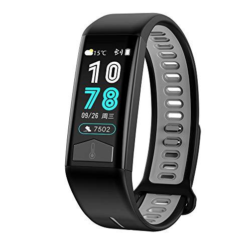 WSFF Multifunktionale Sportuhr IP68 wasserdichte intelligente Armband Unterstützt Temperaturmessung, Offline-Zahlung und andere Funktionen,Schwarz