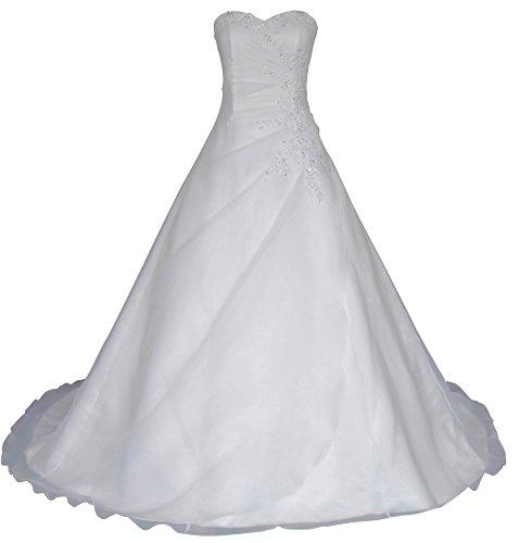 Romantic-Fashion Brautkleid Hochzeitskleid Weiß Modell W025 A-Linie Lang Satin Trägerlos Perlen Pailletten DE Größe 46