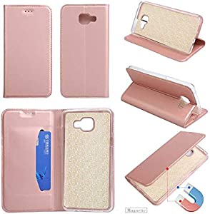 GORASS Case Compatible for Samsung Galaxy 2016 Wallet Case  Leather Waterproof Magnetic Drop Protection Folio Flip Case with Kickstand and Credit Card Slots  Pink