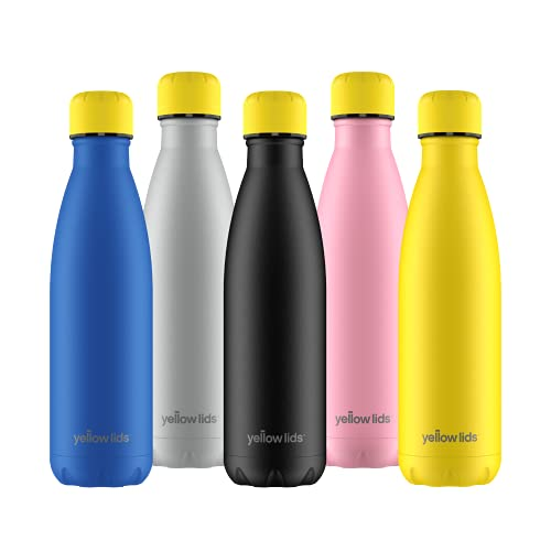 Yellow Lids | A prueba de fugas, sin sudoración | Acero inoxidable sin BPA | Botella de agua reutilizable | Doble pared aislada al vacío | Mantiene el frío durante más de 24 horas