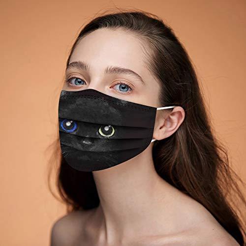 𝙢𝙖𝙨𝙘𝙖𝙧𝙞𝙡𝙡𝙖 con Estampado Gatos 3D Negras para Mujeres Y Hombres, Divertidas para Adultos 3 Capas Protectoras Prueba Polvo (Paquete De 10/50/100), 3 Capas