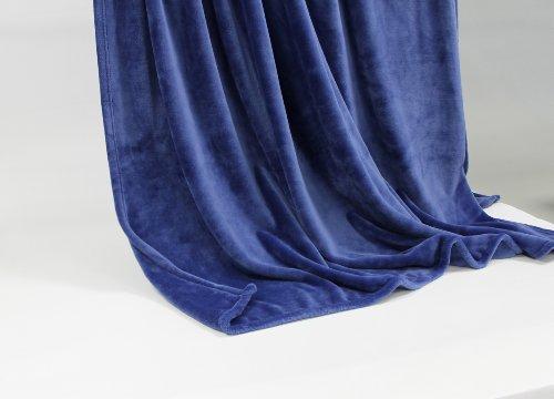 Feinste Tagesdecke Wohndecke Mikrofaserdecke Kuscheldecke, extra dick mit Silk/Cashmere Touch, ca. 150 x 200 cm, Naviblau