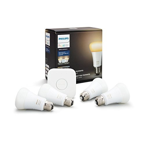 Philips Hue White Ambiance Smart Light Bulb Starter Kit, 4 A19 Smart Bulbs and 1 Hub, Works with Alexa, Apple HomeKit and Google Assistant, (All US Residents)