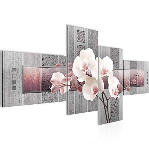 Tabla orquídeas decoración floral de la pared - 100 x 50 cm Vista de impresión en lienzo Salón Apartamento - listo para colgar - 204642c