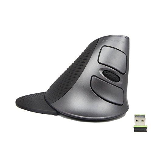 JTD Ratón ergonómico vertical óptico Ratón 2.4GHz 3 niveles de DPI 6 Botones Ratón USB inalámbrico previene la enfermedad del ratón y el codo de tenista (síndrome RSI) Incl. reposamanos (extraíble)