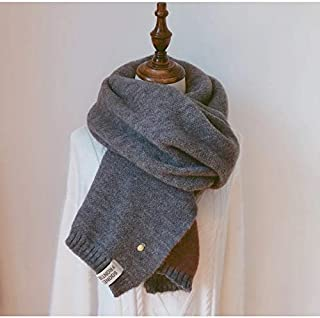 Winter Female Imitation Cashmere Thick Warm Double-Sided Scarf, Double-Sided Solid Color Small Loli Scarf 7 Colors,Gray