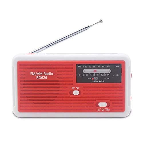 Fltaheroo Uso MúLtiple con EnergíA Solar o GeneracióN de EnergíA una Mano Radio FM 1LED Linterna Carga USB Cargador de Emergencia Rojo