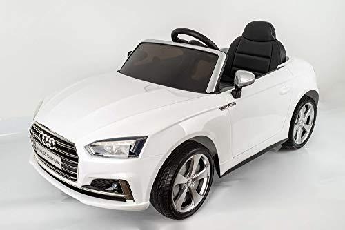 Devessport - Coche eléctrico para niños 12v con Mando de Control Remoto - Audi S5 Blanco - Coche teledirigido con batería - Ideal para niños de 3 a 8 años (máximo 30 Kg) - Medidas: 119 x 58 x 53.5 Cm