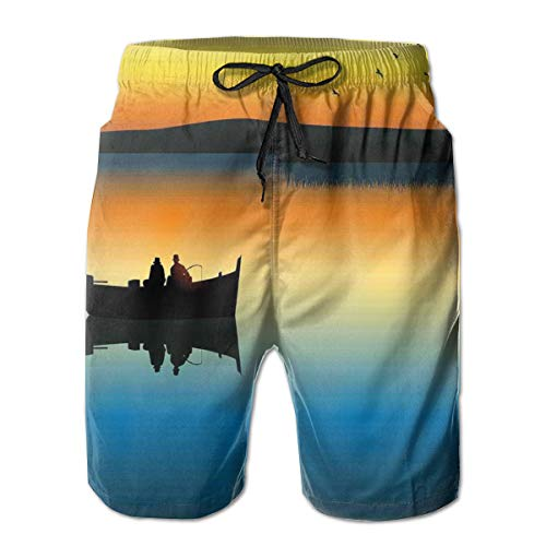Cloudy Scenery Mens Beach Shorts Swim Trunks Stripe Quick Dry Casual Polyester Swim Shorts