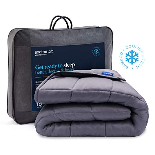 Soothe Lab Cooling Weighted Blanket | 100% Bamboo Viscose | 15 lbs for 110-170 lbs Individual, 60'x 80', Queen Size | Bamboo Weighted Blanket Adult