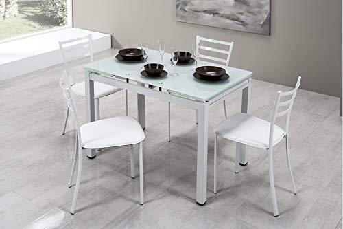 Am Group Home Tavolo Rettangolare allungabile cm 110 x 70 per Cucina, Sala da Pranzo, Salotto, Living Finitura Bianco con Piano in Vetro temperato Alta qualità
