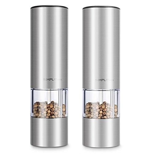 1byone SimpleTaste Elektrische Salz und Pfeffermühle im Set, mit Einstellbarem Keramikmahlwerk, Edelstahl Salzmühle Gewürzmühle mit Sichtfenster
