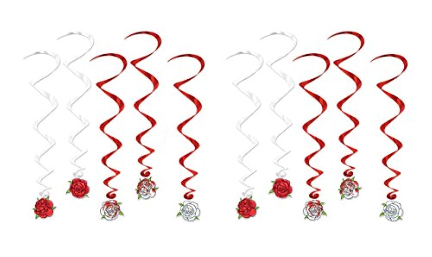 Beistle 52121, 10 Piece Rose Whirls, 3'