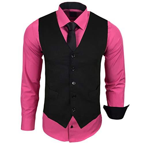 Rusty Neal Herren Hemd mit Weste Krawatte Anzugs Sakko Business Hochzeit Freizeit Hemden Set wählbar RN-44-HWK, Größe:4XL, Farbe:Pink