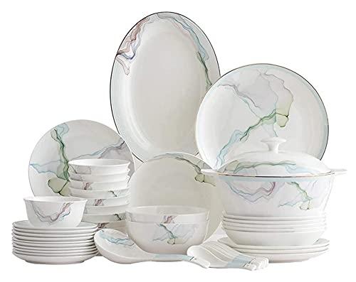 . Juego de 56 Piezas de vajilla y Platos de vajilla y vajilla de vajilla Simple y de Moda para Uso doméstico LingGe