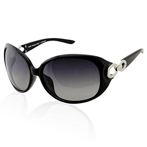 DUCO Damen Sonnenbrille polarisiert Klassisch Stern 100% UV-Schutz 1220 (Schwarz)