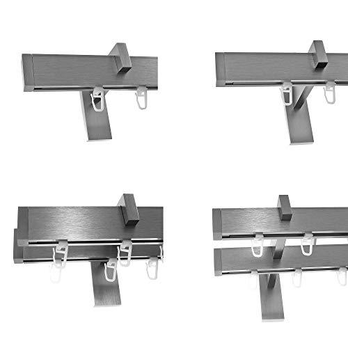 BASIT Innenlauf Gardinenstangen eckig Edelstahl Look kantiges Design 1-, 2- läufig E90, Länge Gardinenstange:160 cm, Modell:H91 1-lauf Träger lang