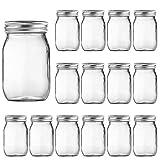 16oz Glass Jars with Regular Lids, Mason Jar With Airtight Lids, Clear Glass Jar Ideal for Jam,Honey,Shower Favors,Wedding Favors, 15 pack
