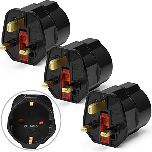 [3 Pack] VGUARD Adattatore da Viaggio UK EU - Set Adattatori da Spina Europea Italia (Schuko) a Presa UK, GB, Inglese - Travel Plug per UK, GB, Inghilterra, Irlanda, Scozia - Nero