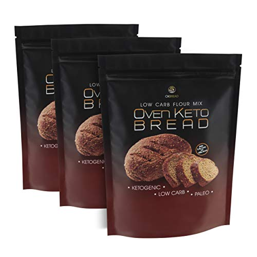 OVEN KETO BREAD Mezcla de Pan Harina para Proteínas Baja en Carbohidratos Pan Cetogénico 200 g Bajo en Calorías Paleo Keto Dieta Atkins (3 PACK)