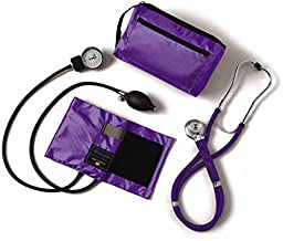 Medline Compli-Mates Aneroid Sphygmomanometer and Sprague Rappaport Stethoscope Kit, Carrying Case, Adult Blood Pressure Cuff, Manual, Professional, Purple