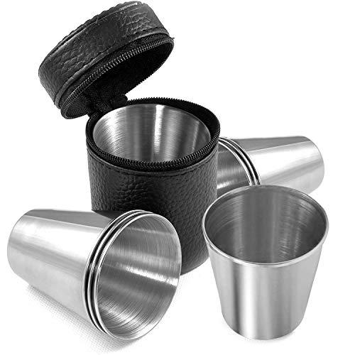 Edelstahlbecher Shot-Gläser Stapelbare Metallbecher Edelstahl Schnaps-Becher 4 STK 30ml Flachmann Schnapsgläser für Outdoor Urlaub Camping