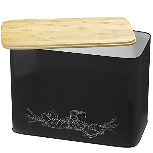 Grande boîte à pain en métal de style vintage avec un couvercle en bambou bio pouvant servir de planche à découper. Dimensions de la huche à pain sont 33 cm x 18 cm x 24 cm