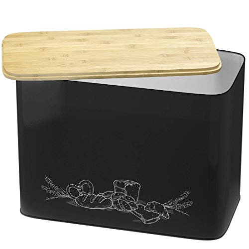 Extra Large Space Saving Vertical Black Bread Box With Eco Bamboo Cutting Board Lid