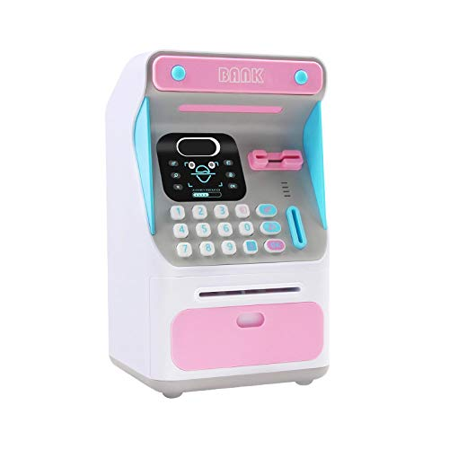 Yuan Ou Hucha Reconocimiento Facial simulado Cajero automático Caja de Efectivo Emulación Contraseña Rollo automático Dinero Seguro Alcancía Rosa