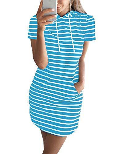 Auxo Mujer Vestido Sudadera Manga Corta Sudadera con Capucha Larga Verano Deportivo Rayas Talla Grande Túnica Camisa Larga Moda X-Azul M