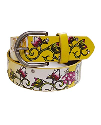 Ed Hardy By Christian Audiger Manmade Leather Belt, Yellow, M