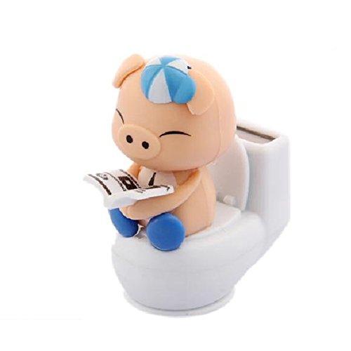 17YEARS Miniature Charmante Solaire Motif Cochon sur le Pot de Toilet Décoration de Voiture Bureau, Plastique, bleu, Taille unique