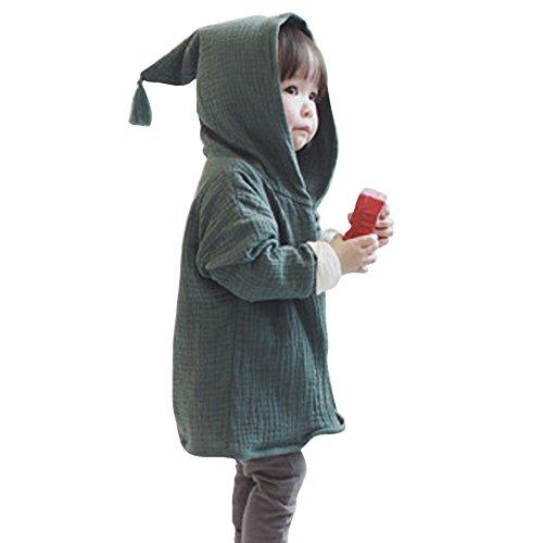 NINGSANJIN Kleinkind Kinder Unisex Baby Junge Mädchen Mantel Mit Kapuze Hooded Sweatshirt Strickjacke Pullover Outwear Trenchcoat (120, Grün)