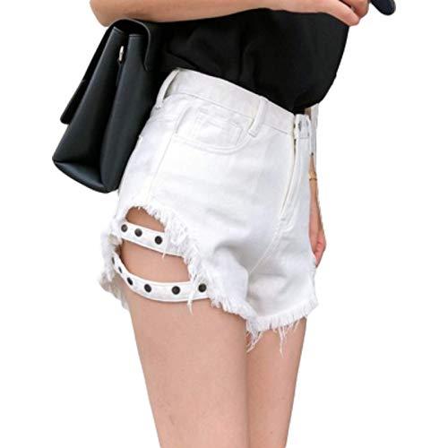 Pantalones Cortos de Mezclilla para Mujer Pantalones Cortos de Mezclilla con diseño de Moda Lateral y Personalidad de Moda Pantalones Vaqueros de Pierna Ancha de Cintura Alta con Agujeros Sueltos L