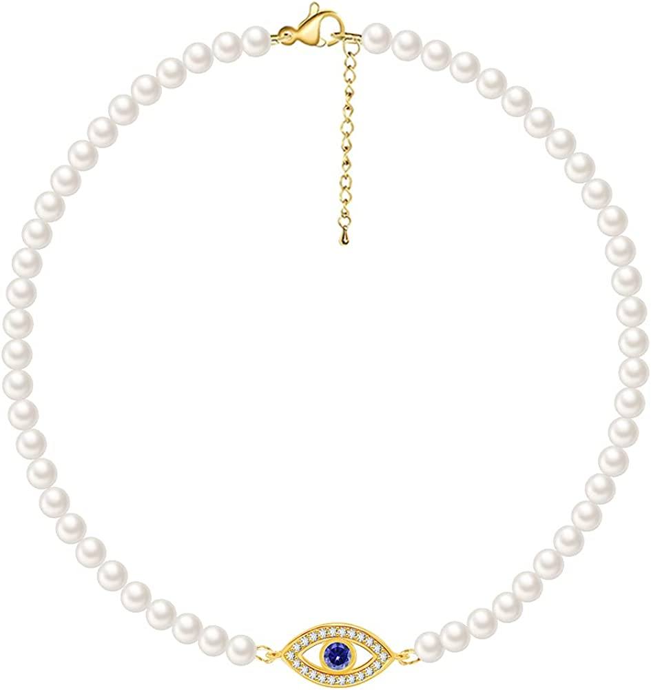 Evil Eye Pearl Necklaces for Women, White Simulated Shell Pearl Choker Necklace with Charm Handmade Jewelry Gifts for Women Brides
