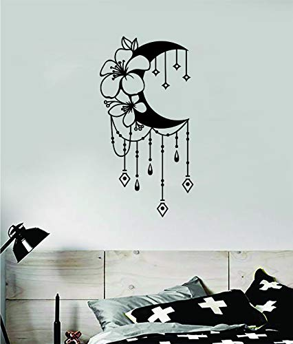 Floral Moon V2 Wall Decal Sticker Vinyl Art Bedroom Room Decor Teen Quote Inspirational Boy Girl Travel Nature Beautiful Explore School Mountains Boho Tattoo Space Galaxy Dreamcatcher Floral Geometric