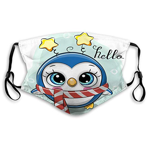 cghmn bnx Anti-Dust Shield for Women and Men Cute Cartoon Penguin in a Scarf on a Blue Comfortable Covers